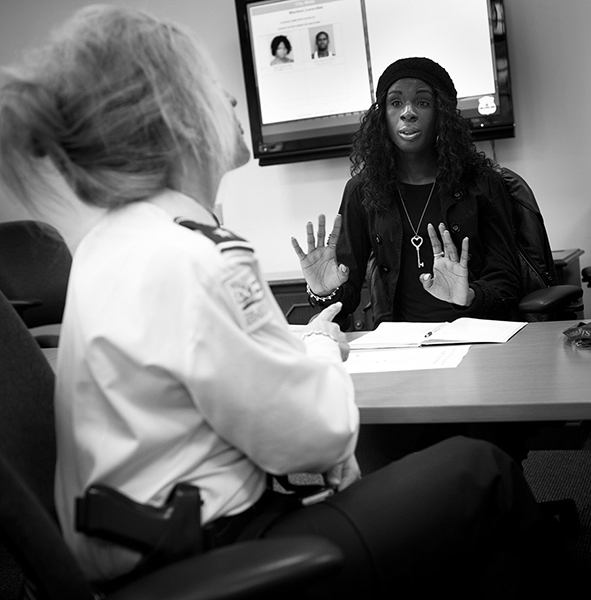 Xion meets with DC Assistant Police Chief Diane Groomes to discuss police interaction with transgender youth in DC. Specifically, they are concerned about a particular