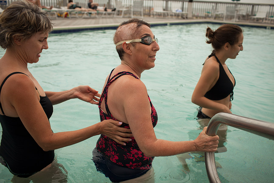 During her illness, she remains active by swimming.