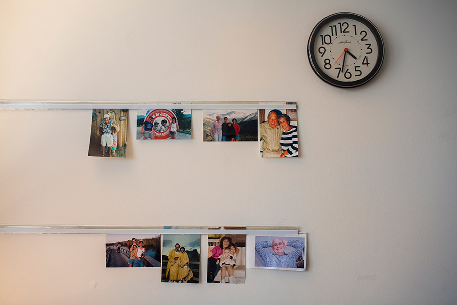 Pictures of family adorn the walls.